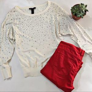 INC Rhinestone Studded Sweater Size Small